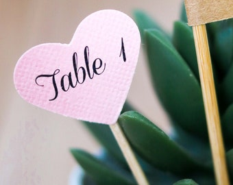 Seating Assignment Heart Cupcake Toppers, Escort Cards, Table Assignments,