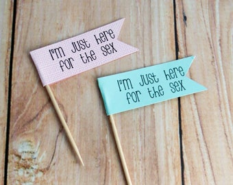 Gender Sex Reveal Cupcake Toppers, Flag Cupcake Toppers, Baby Sex Reveal Banner, Boy or Girl? Baby Boy Baby Girl, I'm just here for the sex