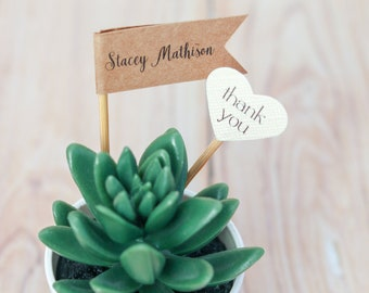Personalized Guest Name Flags, Thank You Name & Date Favors, Kraft Paper Skinny Flag Escort Card, Rustic Place Cards, Guest Name Plant Flags