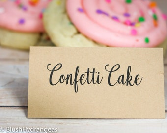 Dessert Table Cards - Dessert Table Labels for Pies, Cakes, Cookies, Donuts, Kraft Paper Tents, Rustic Kraft Cake Labels