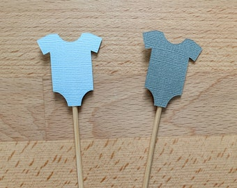 Blue & Gray Baby Onesie Cupcake Toppers - Pick Your Colors!! Baby Shower, Baby Infant Onesie Party Topper, Baby Shower Decorations
