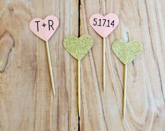 Personalized Blush Gold Glitter Heart Cupcake Toppers, Custom Initials Wedding Date Cupcake Topper, Name Birthday Party Pick, Rustic Wedding