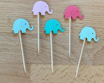Elephant Cupcake Toppers, Custom Colors Elephant Baby Shower Cupcake Topper, Birthday Party Toppers, Donut Party Decor