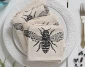 Honeybee Napkins - Set of 4 - Organic Cotton - Cloth Napkins  - Eco Friendly - Tabletop Decor - Bee Napkins - Farmhouse Decor
