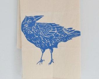 Crow Tea Towel - Organic Cotton - Flour Sack Towel - Screen Printed - Unpaper Towel - Kitchen Towels - Black Raven - Farmhouse Kitchen Decor