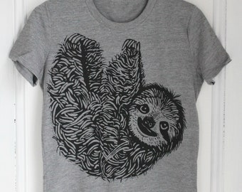 5175bf472 Womens Sloth T Shirt - Organic - Sloth Tee - Tri-Blend - Animal Shirt - Women's  T-Shirts