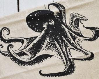 Octopus Tea Towel - Organic Cotton - Flour Sack Towel - Screen Printed - Unpaper Towel - Kitchen Towels - Nautical Decor - Kitchen Gift