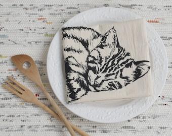 Cat Tea Towel - Organic Cotton - Flour Sack Towel - Screen Printed - Unpaper Towel - Kitchen Towels - Sleeping Kitten - Black