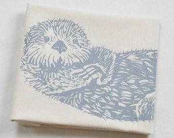 Otter Tea Towel - Organic Cotton - Screen Printed - Unpaper Towel - Flour Sack Towel - Eco Friendly Kitchen Towels - Sea Otter - Grey