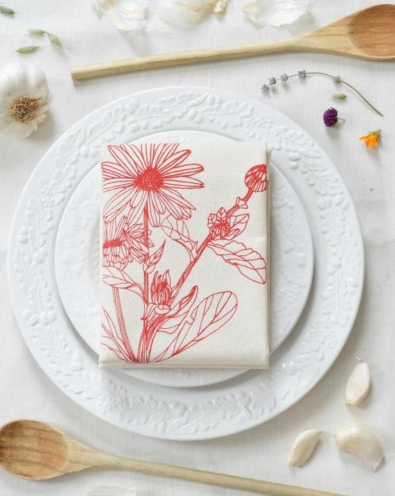 Geschirrtuch Bio-Baumwolle Blume Calendula Unpaper