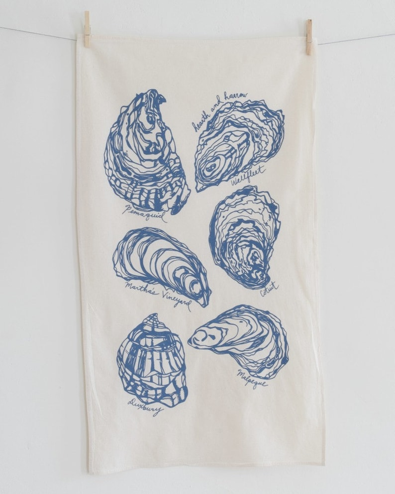 Tea Towel Oyster Shells Organic Cotton Screen Printed Etsy