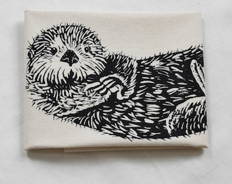 Otter Tea Towel - Organic Cotton - Flour Sack Towel - Screen Printed - Unpaper Towel - Kitchen Towels - Otter - Black