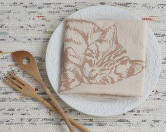 Cat Tea Towel - Organic Cotton - Flour Sack Towel - Screen Printed - Unpaper Towel - Kitchen Towels - Sleeping Kitten - Mocha Brown