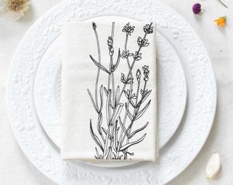 Tea Towel - Organic Cotton - Lavender Print - Screen Printed - Unpaper Towel - Flour Sack Towel - Eco Friendly Kitchen Towel - Botanical
