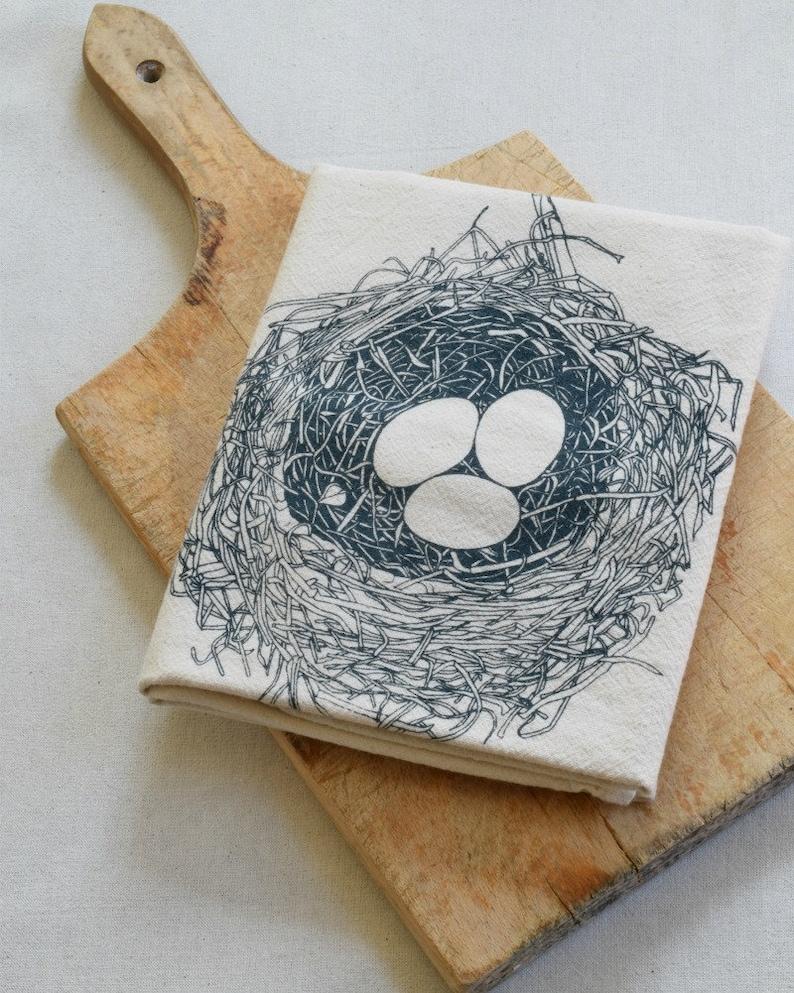 Tea Towel - Organic Cotton - Bird Nest - Eco Friendly Kitchen Towel -  Organic Flour Sack Towel - Nest and Eggs