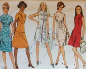 Simplicity 9148 Pattern - 1970s Princess Seam Dress, Empire Waist Stand Up or Jewel Collar - Size 14 Bust 36 CUT Complete