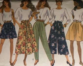 1bafdf0747 Butterick 6075 Pattern UNCUT 1990s Flared Split Skirt Shorts or Capri Pants  Midi Flared Skirt Tapered Pants Pleated Pockets Size 18 20 22