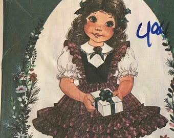 6f5ca7cd80c McCalls 9355 - 1980s Little Darlings Enchanted Forest Girl s Back Button  Dress with Pinafore Style Ruffles Sash Pattern 1 2 3 OR 4 5 6 - MN