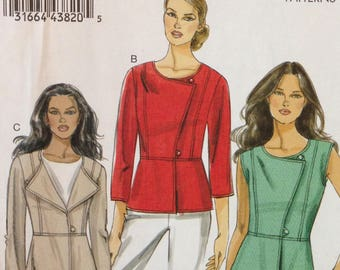 Vogue V8714 Very Easy Above Hip Vest or Jacket with Wide Pointed Collar or Asymmetrical Closure - Size 6 8 10 12