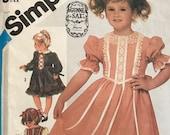 Simplicity 6511 Pattern CUT See Description 1980s Jessica McClintock for Gunne Sax Little Girl 39 s Short Puff Sleeve Dress Flared Size 5 MN