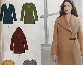 Simplicity 1067 - Asymmetrical Closure Coat with Shawl Collar, Pointed Collar and Hood Options  - Size 6 8 10 12 14