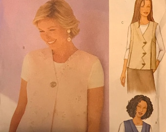 Butterick 3016 - Today's Fit by Sandra Betzina Semi Fitted Vest with Asymmetrical Closure - Size ABC Bust 32 34 36