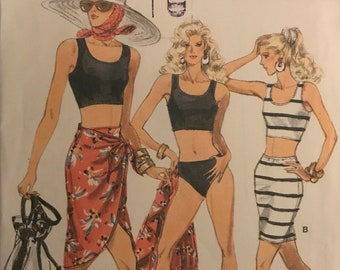 1b4d1e1aeb309 Vogue 7228 Pattern CUT Complete 1980s Very Easy Cropped Scoop Top Panties  Body Conscious Top and Sarong Side Wrap Tie - Size 6 8