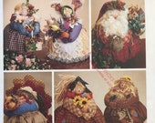 McCalls 7403 Pattern UNCUT 1990s Roly Poly Holiday Centerpieces - Boy Girl Scarecrow, Santa Clause, Garden Girl, Spring Rabbit Mr Turkey