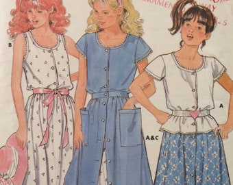 Butterick 4901 - 1980s Girl's Top and Skirt with Ruffled Hem - Size 7 8 10