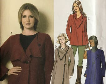 Butterick B6140 - Semi Fitted Jacket with Princess Seams and Asymmetrical Closure - Size L XL XXL