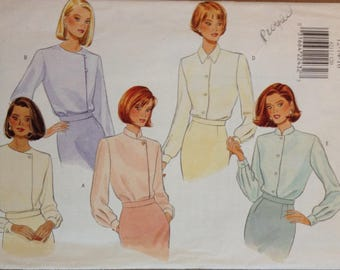 Butterick 4211 Fast and Easy Tops with Asymmetrical Closure or Button Front - Size 12 14 16