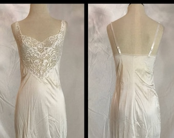 White Nylon Full Slip in Midi Length by Vanity Fair with Lace Bodice and Hem - Size 32