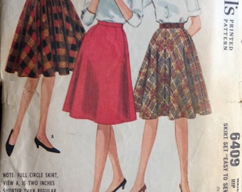 dcebbef408 McCalls 6409 Pattern - 1960s Collection of Knee Length Skirts - Size Waist  24 Hip 33 CUT/Complete