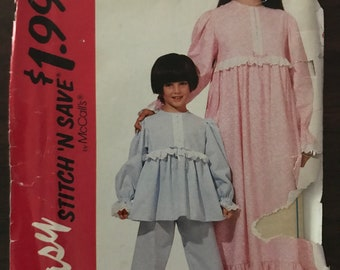 McCalls 6822 Pattern UNCUT 1990s Vintage Easy Stitch n Save Girl's Maxi Nightgown Pajama Set Top and Bottoms and Size M L 8 10 12 14