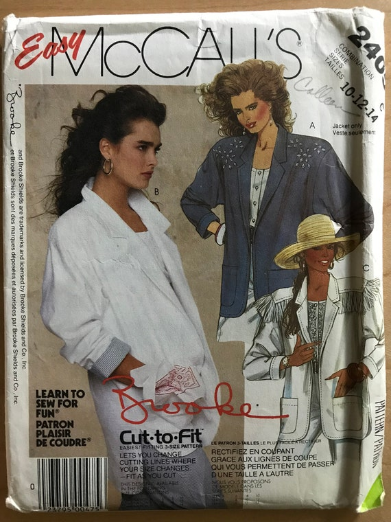 1d8258b88dc McCalls 2405 Pattern 1980s Brooke Shields Notched Collar