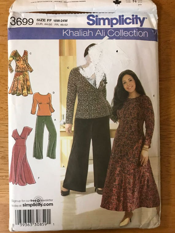 152535b07 Simplicity 3699 Khaliah Ali Dress with Shaped Midriff Top