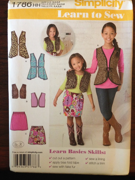 Simplicity 1786 Pattern Learn to Sew Vest with Bias Tape or | Etsy