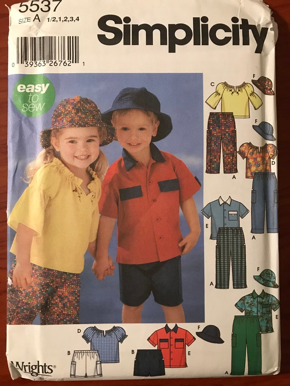 fa248478 Simplicity 5537 Easy Boys or Girls Kids Peasant Blouse or Camp | Etsy