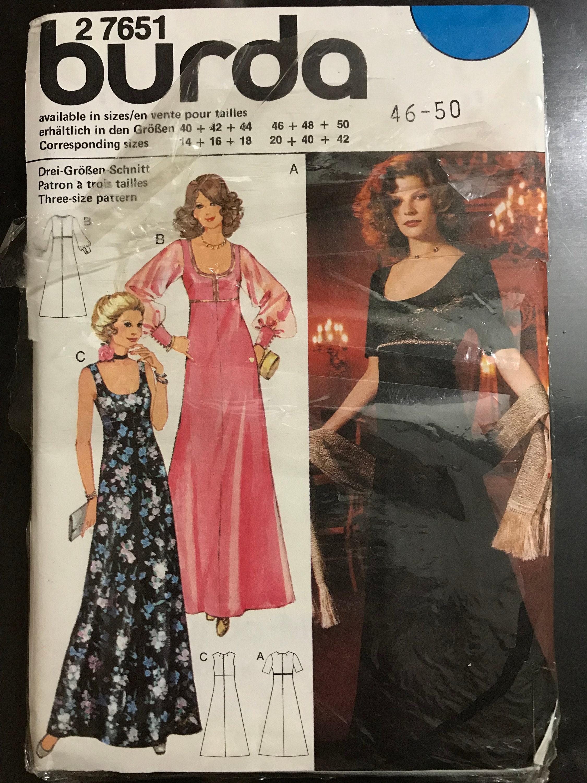 3f2fb47e05616 Burda 2 7651 Pattern Empire Waist Evening Dress Scoop Neckline