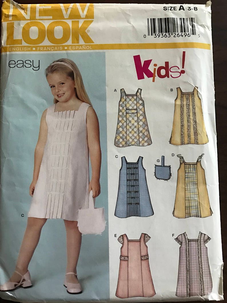 9f1aec5fe0723e New Look 6262 Pattern Easy Girls Summer Dress with Contrast | Etsy
