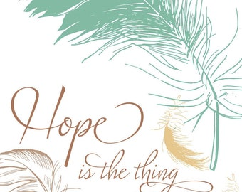 Hope is a thing with feathers (green, yellow on white) illustration