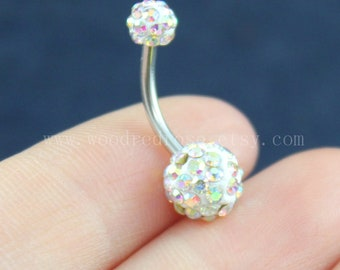 Blinking Belly Button Ringspink Color Diamond Belly Ringno Etsy