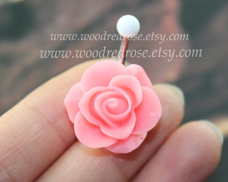 Pink Flower Belly Button Ring Flower Belly Ring Flower Bellybutton Ring No Dangle Belly Ring Belly Button Ring Belly Button Piercing