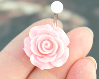Pink Flower Belly Button Rings, Flower Belly Rings, Flower Belly button Rings, No Dangle Belly Ring, Belly Button Ring, Belly Piercing