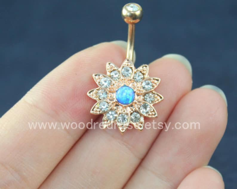 14G Floral Navel Bar Rose gold Flower Belly ring Blue opal Navel Ring Rhinestone Crystal Belly Ring Belly Button Ring