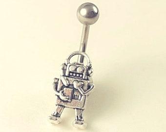 Robot Belly Rings, Navel Piercing, Silver Robot belly ring, Robot Belly Button Ring, No Dangle Belly Ring, Belly Button Piercing