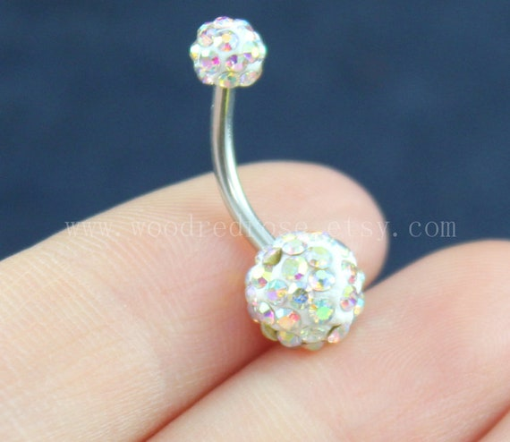 Blingbling Belly Button Rings Ab Color Diamond Belly Ring No Dangle Belly Ring Diamond Navel Piercing Ring Stud Piercing