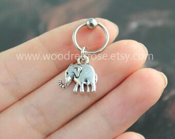 Silver Tiny Elephant Cartilage Hoop Earring,Tragus hoop Earring Jewelry,Silver Helix Cartilage earrings