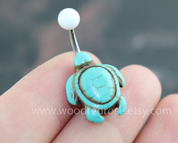 Turquoise Turtle Belly Button Rings Turtle Belly Button-4056