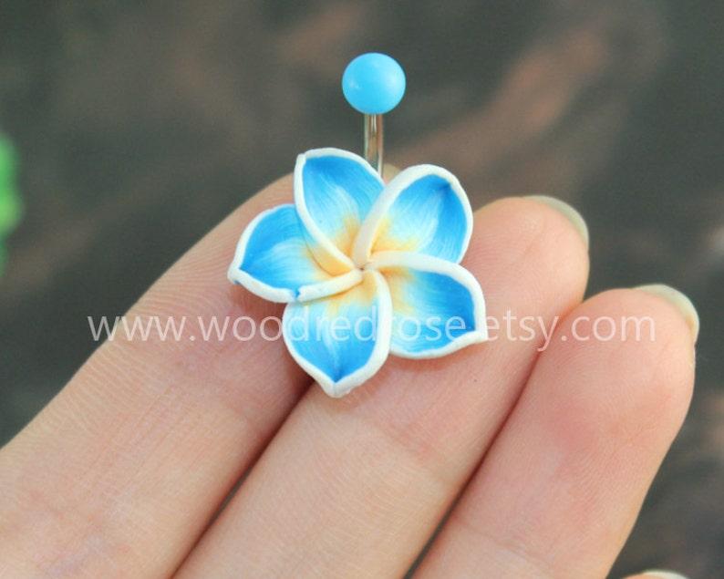 Plumeria Belly Button Ring Blue Hawaiian Flower Belly Button Etsy